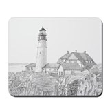Maine Lighthouse Drawing Mousepad