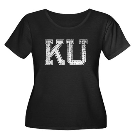 KU, Vintage Women's Plus Size Scoop Neck Dark T-Sh