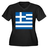 Greece Flag Women's Plus Size V-Neck Dark T-Shirt