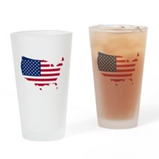 Flag Map of the USA Drinking Glass