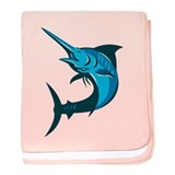 blue marlin fish jumping retro baby blanket