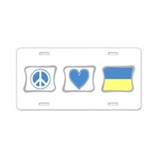 Peace, Love and Ukraine Aluminum License Plate