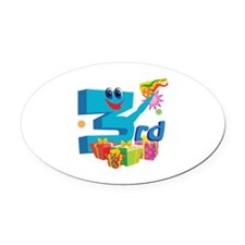3rd Celebration Oval Car Magnet
