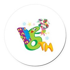 6th Celebration Round Car Magnet