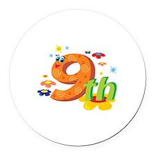 9th Celebration Round Car Magnet