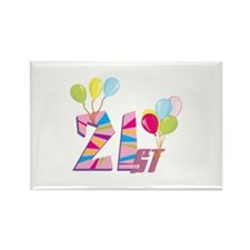 21st Celebration Rectangle Magnet (10 pack)