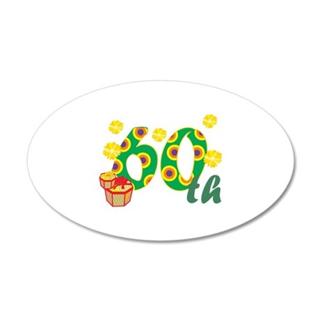 60th Celebration 38.5 x 24.5 Oval Wall Peel