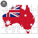 Australia Civil Ensign Flag and Map Puzzle