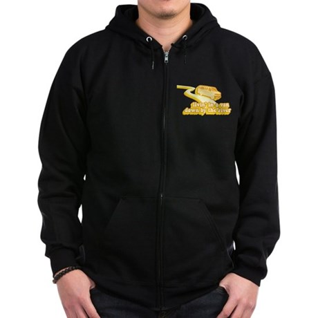 Livin a Van Down By the River Zip Dark Hoodie