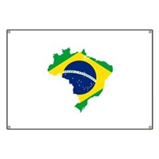 Brazil Flag and Map Banner