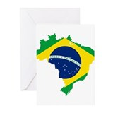 Brazil Flag and Map Greeting Cards (Pk of 10)