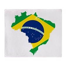 Brazil Flag and Map Throw Blanket