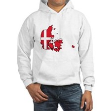 Flag Map of Denmark Hoodie