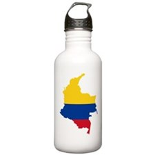 Colombia Civil Ensign Flag and Map Water Bottle