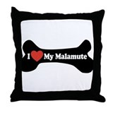 I Love My Malamute - Dog Bone Throw Pillow