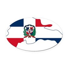 Dominican Republic Flag and Map Oval Car Magnet