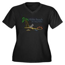 Pibble Beach Women's Plus Size V-Neck Dark T-Shirt