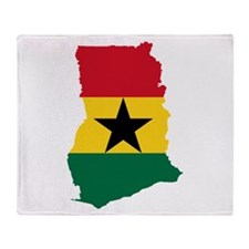 Ghana Flag and Map Throw Blanket