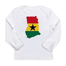 Ghana Flag and Map Long Sleeve Infant T-Shirt