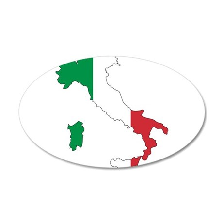 Italy Flag and Map 20x12 Oval Wall Decal