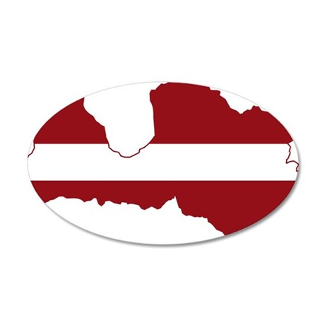 Latvia Flag and Map 20x12 Oval Wall Decal
