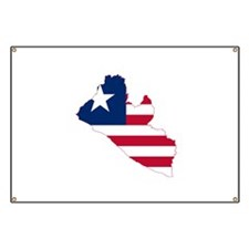 Liberia Flag and Map Banner