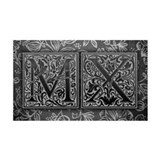 MX initials. Vintage, Floral Wall Decal