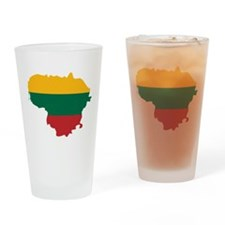 Lithuania State Ensign Flag and Map Drinking Glass