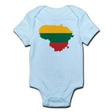 Lithuania State Ensign Flag and Map Infant Bodysui