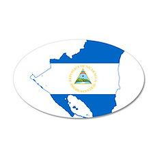 Nicaragua Flag and Map 35x21 Oval Wall Decal