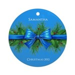 Personalized Blue Christmas Bow and holly ornament