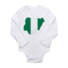 Nigeria Flag and Map Long Sleeve Infant Bodysuit