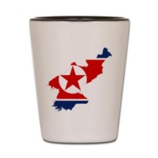 North Korea Flag and Map Shot Glass
