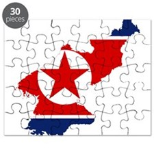 North Korea Flag and Map Puzzle