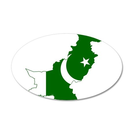 Pakistan Flag and Map 20x12 Oval Wall Decal