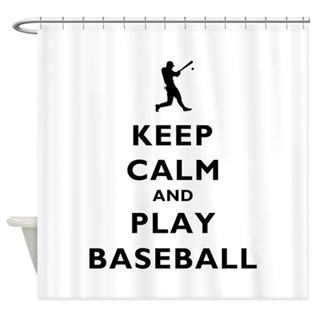 Keep calm and play baseball shower curtain by pixel gear for A bathroom i can play baseball in