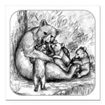 """Black Bear Family Square Car Magnet 3"""" x 3&qu"""