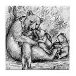 Black Bear Family Tile Coaster