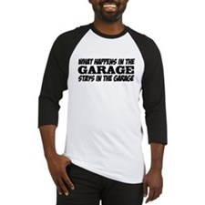 What Happens in the Garage Baseball Jersey