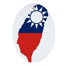 Taiwan Flag and Map Ornament (Oval)