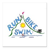 "Run, Bike, Swim Square Car Magnet 3"" x 3"""