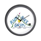 Run, Bike, Swim Wall Clock