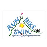 Run, Bike, Swim Postcards (Package of 8)