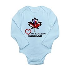 America - Canada Husband.png Long Sleeve Infant Bo