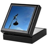 sea gull flying over a lamp post Keepsake Box