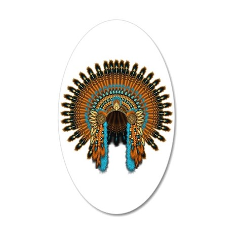 Native War Bonnet 08 20x12 Oval Wall Decal
