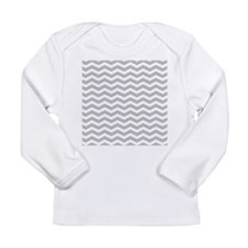 Grey Chevron Pattern Long Sleeve Infant T-Shirt