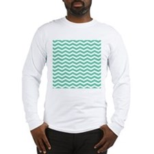 Aqua Teal chevron pattern Long Sleeve T-Shirt