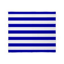 Navy Blue and White Sailor stripes Throw Blanket