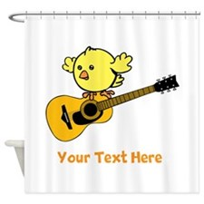 Chick with Guitar and Text. Shower Curtain